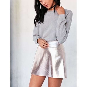 Silence + noise pink metallic mini skirt
